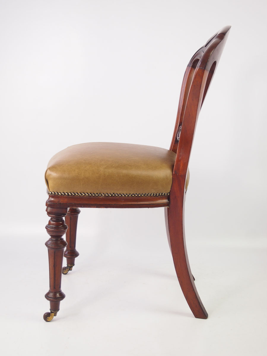 Antique victorian mahogany leather desk chair for Antique leather chairs