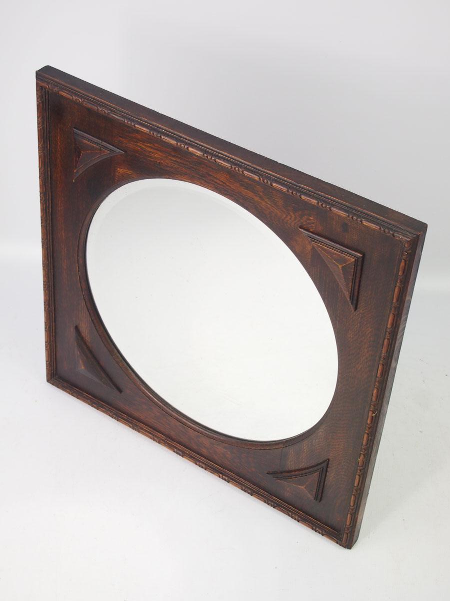 Vintage oval mirror in square oak frame for Vintage mirror