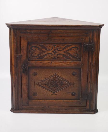 Vintage Oak Corner Cupboard
