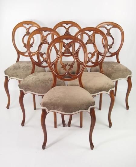 Set 6 Victiorian Walnut Balloon Back Chairs