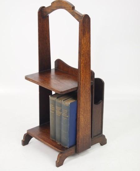 Art Deco Oak Book Trough Magazine Stand