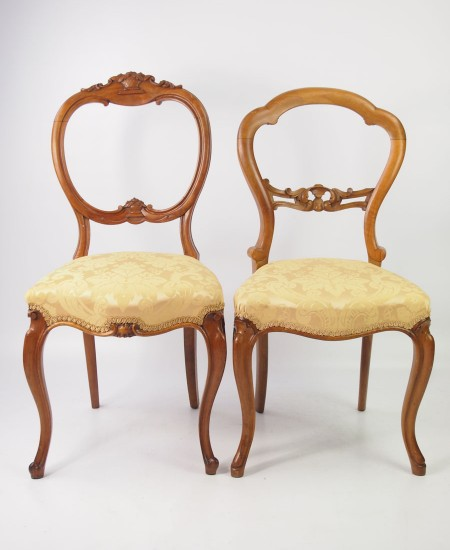 2 Victorian Balloon Back Chairs