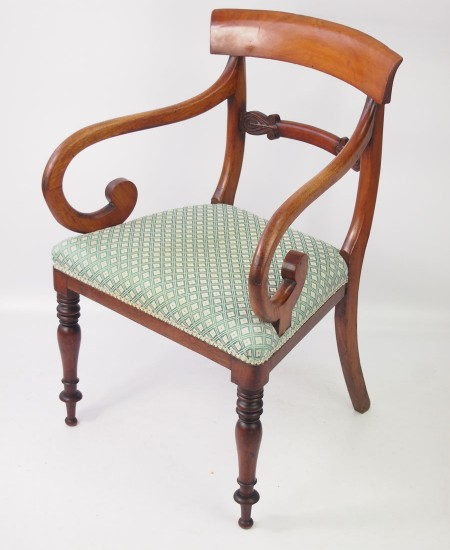Antique Victorian Scroll Arm Desk Chair