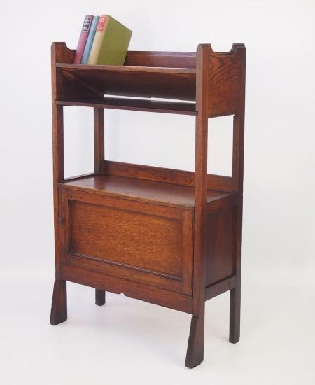 Antique Arts and Crafts Oak Book Trough