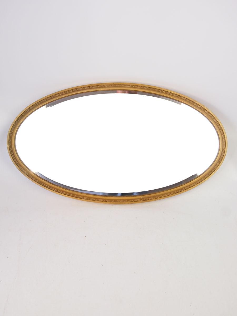 Large Edwardian Oval Gilt Framed Mirror