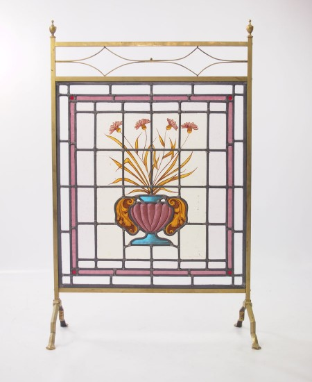 Edwardian Stained Glass Fire Screen