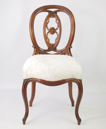 Antique French Walnut Balloon Back Chair